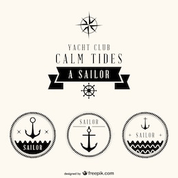 Nautical set of free badges