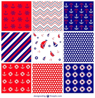 Nautical vector pattern collection