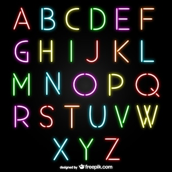 Neon alphabet letters
