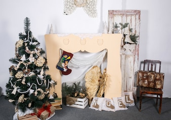 New year room with handcrafted decorations