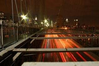 New York City traffic by night