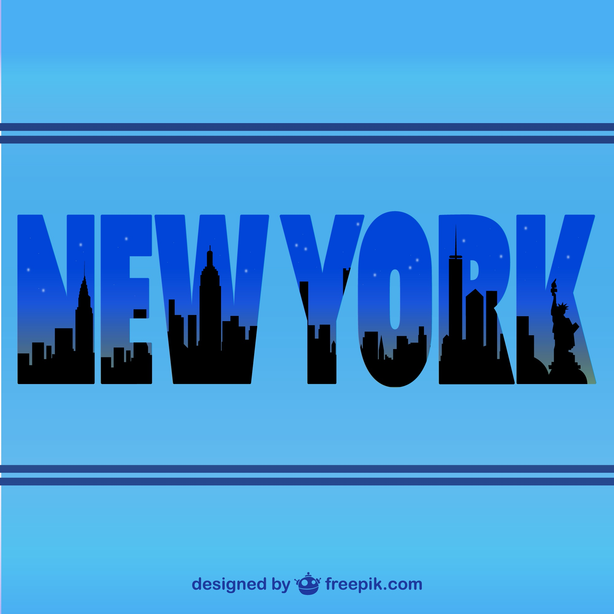New York skyline vector typographic silhouette