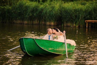 Newlywed in a boat