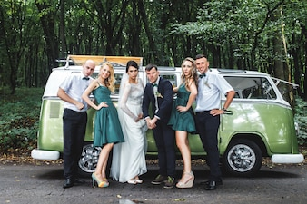 Newlyweds with friends having fun