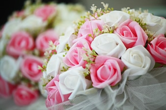 Nice bouquet with white and pink flowers