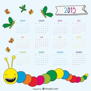 Nice drawing worm and butterflies 2015 calendar
