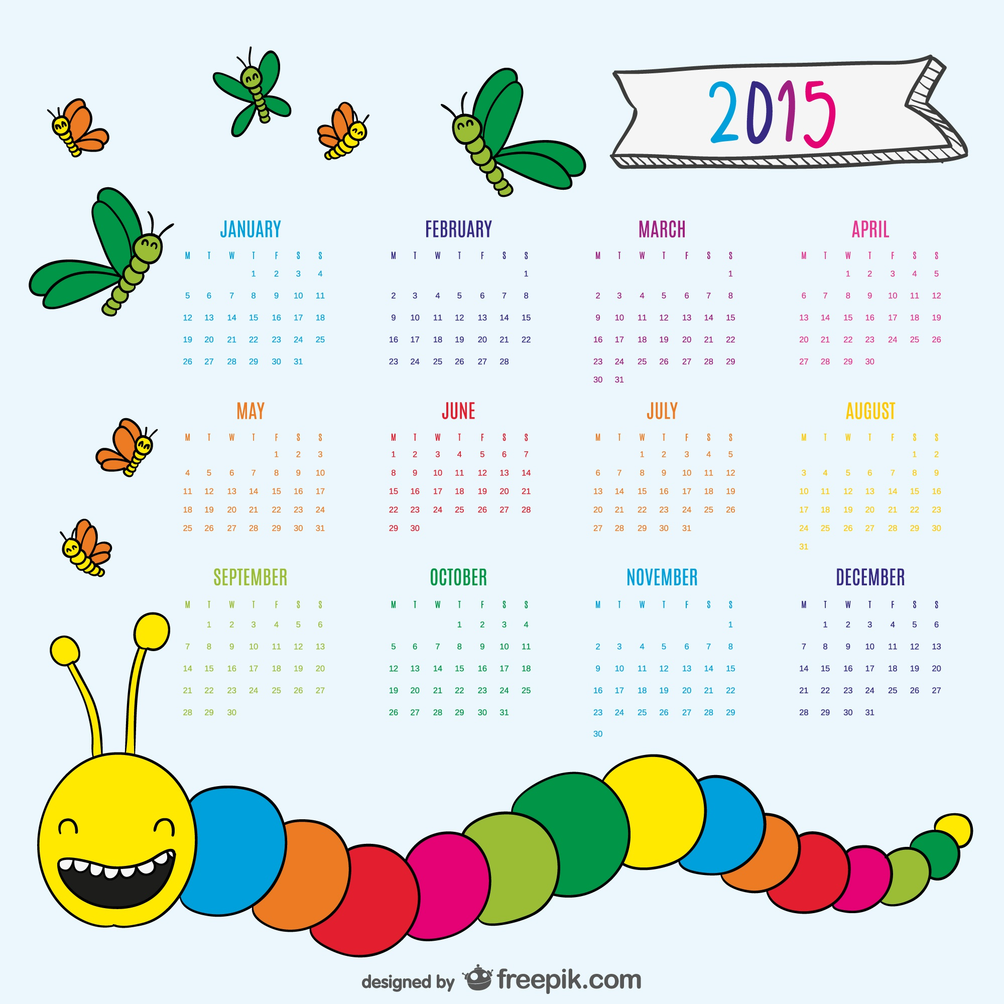 Nice drawing worm and butterflies 2015 calendar