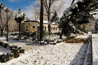 Nice street with snow