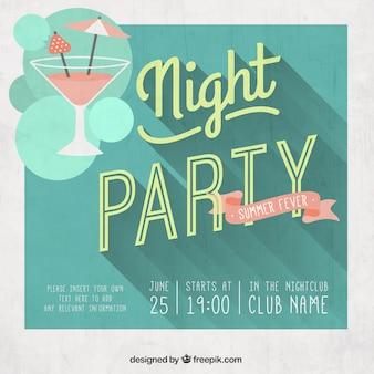 レトロなスタイルでの夜のパーティーのポスター
