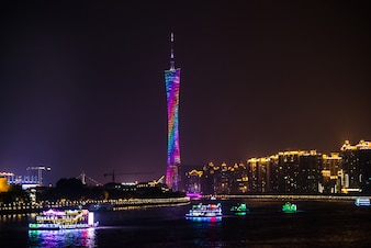 Night view of the television tower in guangzhou
