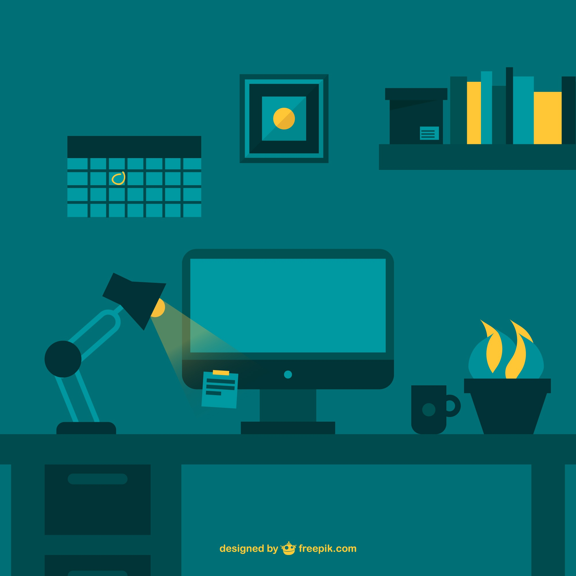 Night working office space flat vector