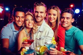 Nightclub group woman martini young