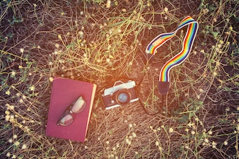 Notebook and old camera