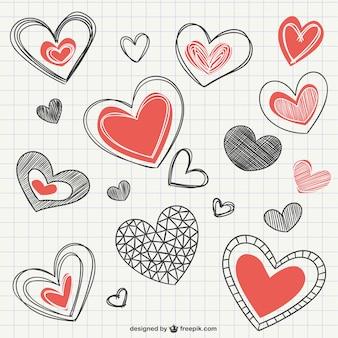 Notebook heart drawings