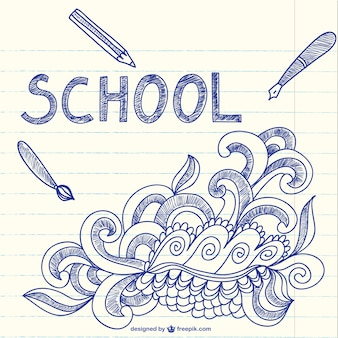 Notebook with school sketchy doodles art