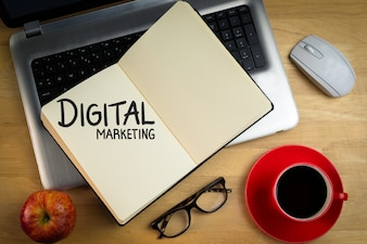 Notebook with the words  digital marketing