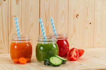 Nutritious juices with straws