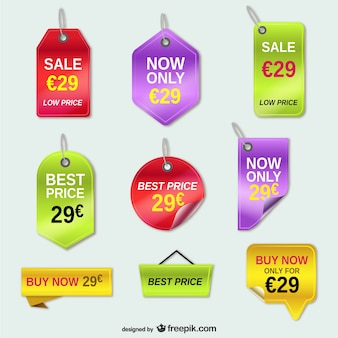 Offer price tags vector set