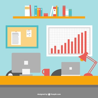 Office desk flat vector illustration
