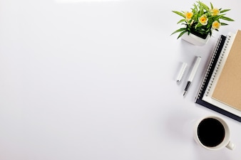 Office elements on white background