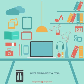 Office flat free vector