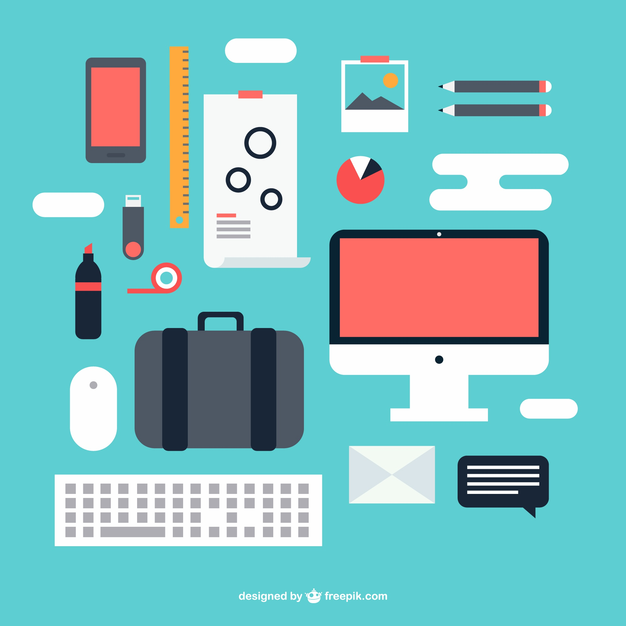 Office kit vector graphic elements