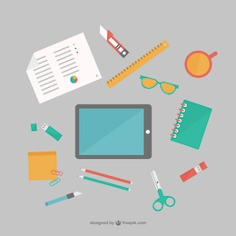 Office supplies flat free vector set