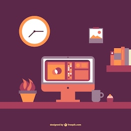 Office table flat vector