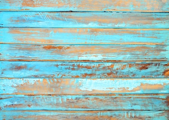 Old beach wood background - vintage blue color wooden plank