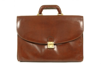 Old brown leather briefcase