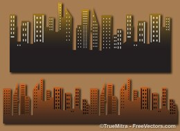 Old city buildings vector