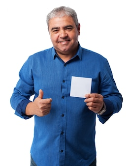 Old man with a white paper