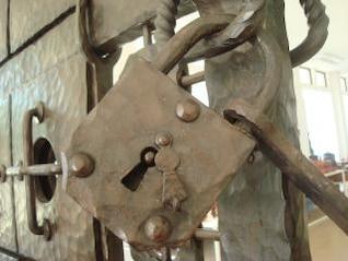 old metal padlock  hard
