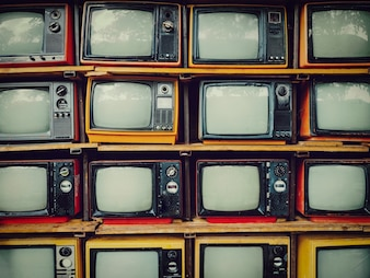 Old retro television and blank screen display