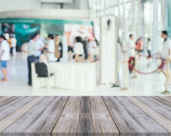 Old wooden planks with blurred airport