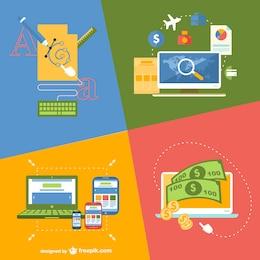 Online application flat illustration