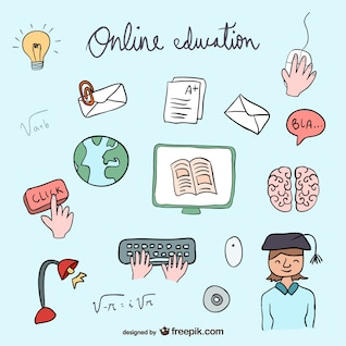 Online education icons collection