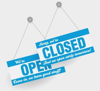 Open closed hanging door signs in blue