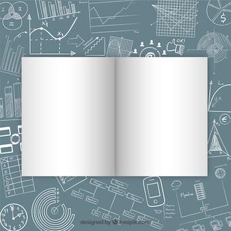 Open magazine mockup on drawing desk