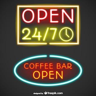 Open neon signs
