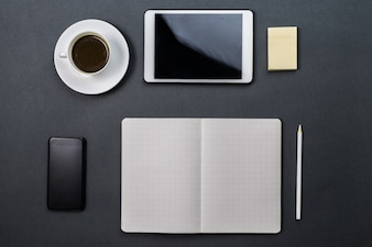 Open notebook and tablet