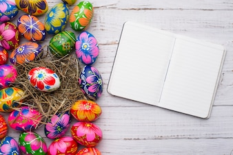 Open notebook next to easter eggs