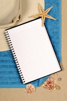 Open notebook on the beach
