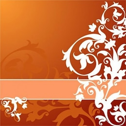 Orange background with white leafs