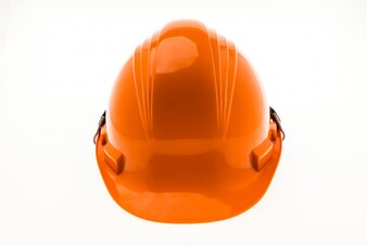 Orange Hard Plastic Construction Helmet On White Background .