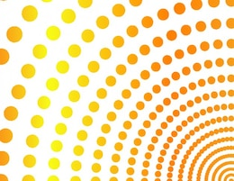 Orange quarter circles of dots background