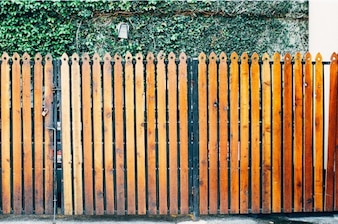 Orange wooden fence