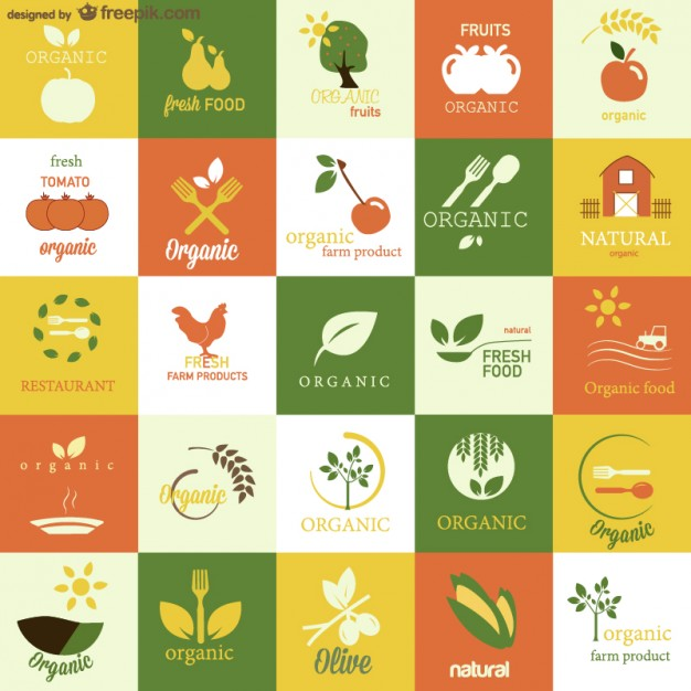 Organic food vector symbols set