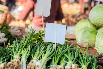 Organic foods. Fresh organic food at the local farmers market. Farmers markets are a traditional way of selling agricultural products.