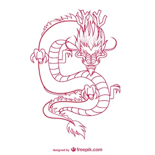 Oriental dragon drawing